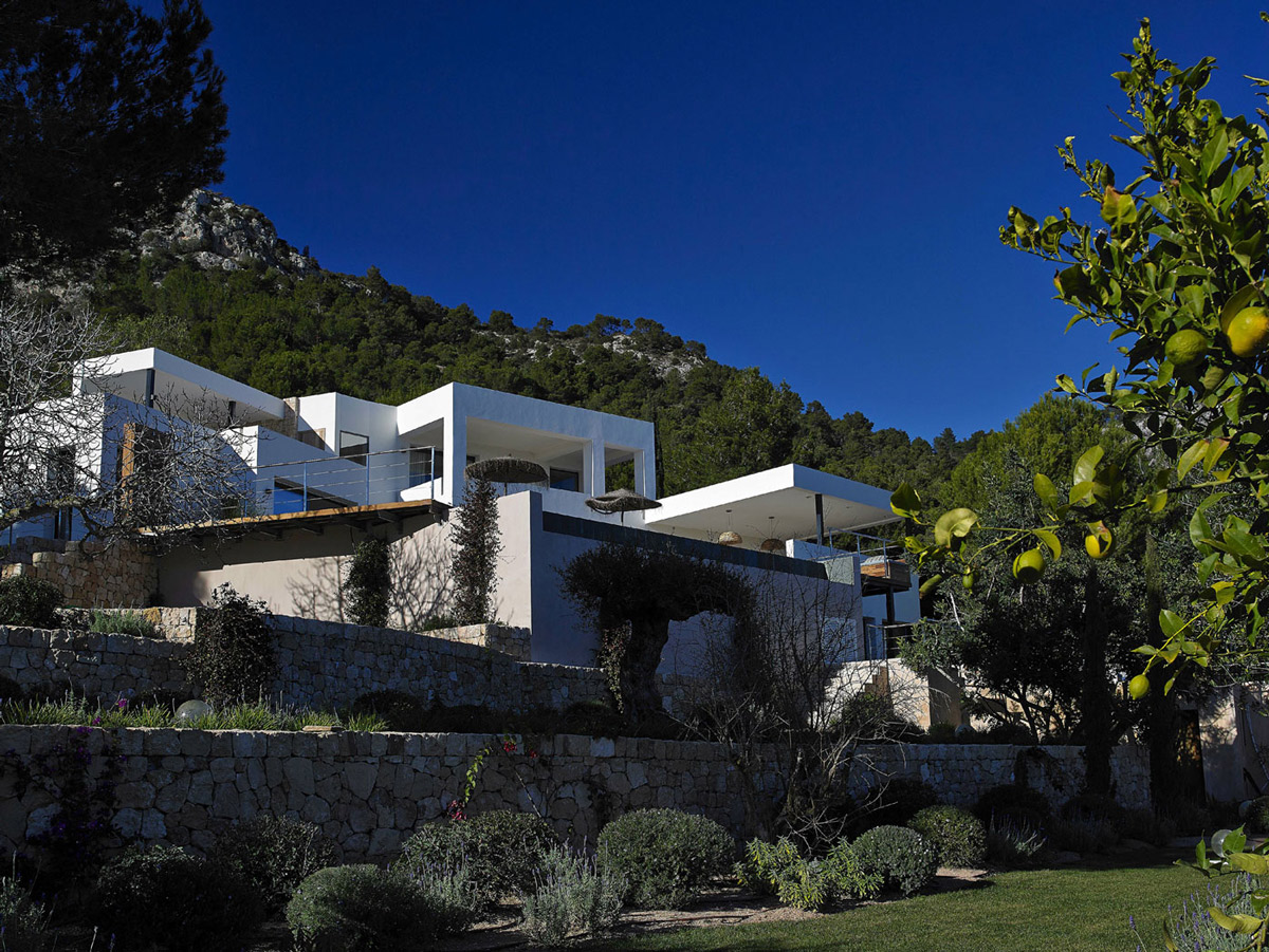 Natural Stone Walls, Modern House in Ibiza, Spain