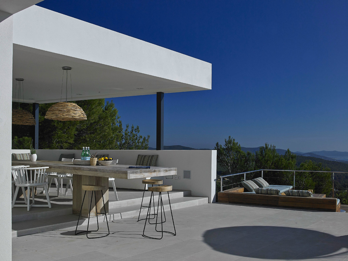 Outdoor Dining, Terrace, Modern House in Ibiza, Spain