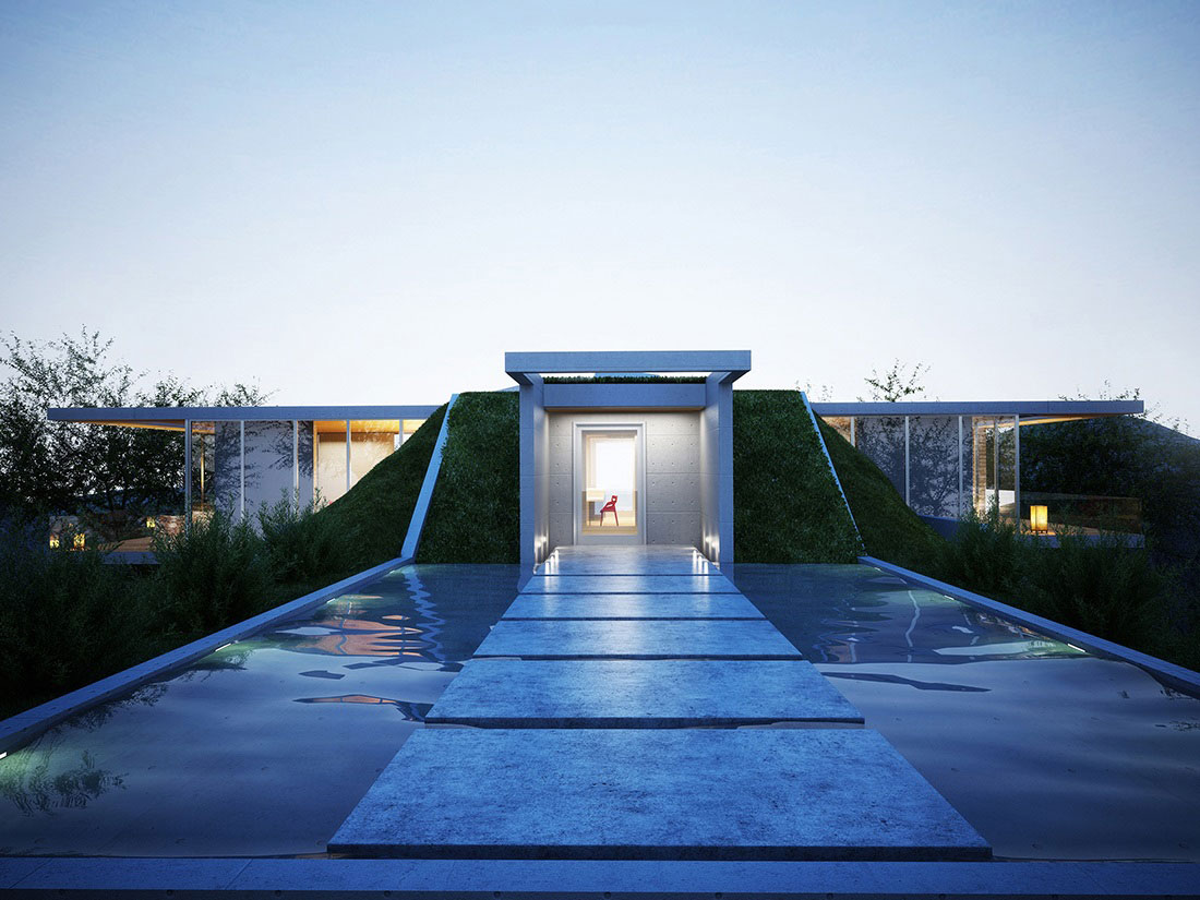 Water Feature, Bridge, Lighting, Earth House Project