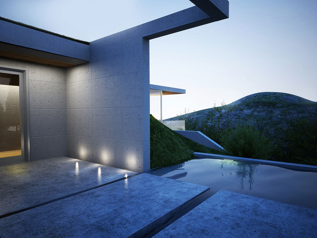 Water Feature, Stepping Stones, Lighting, Earth House Project
