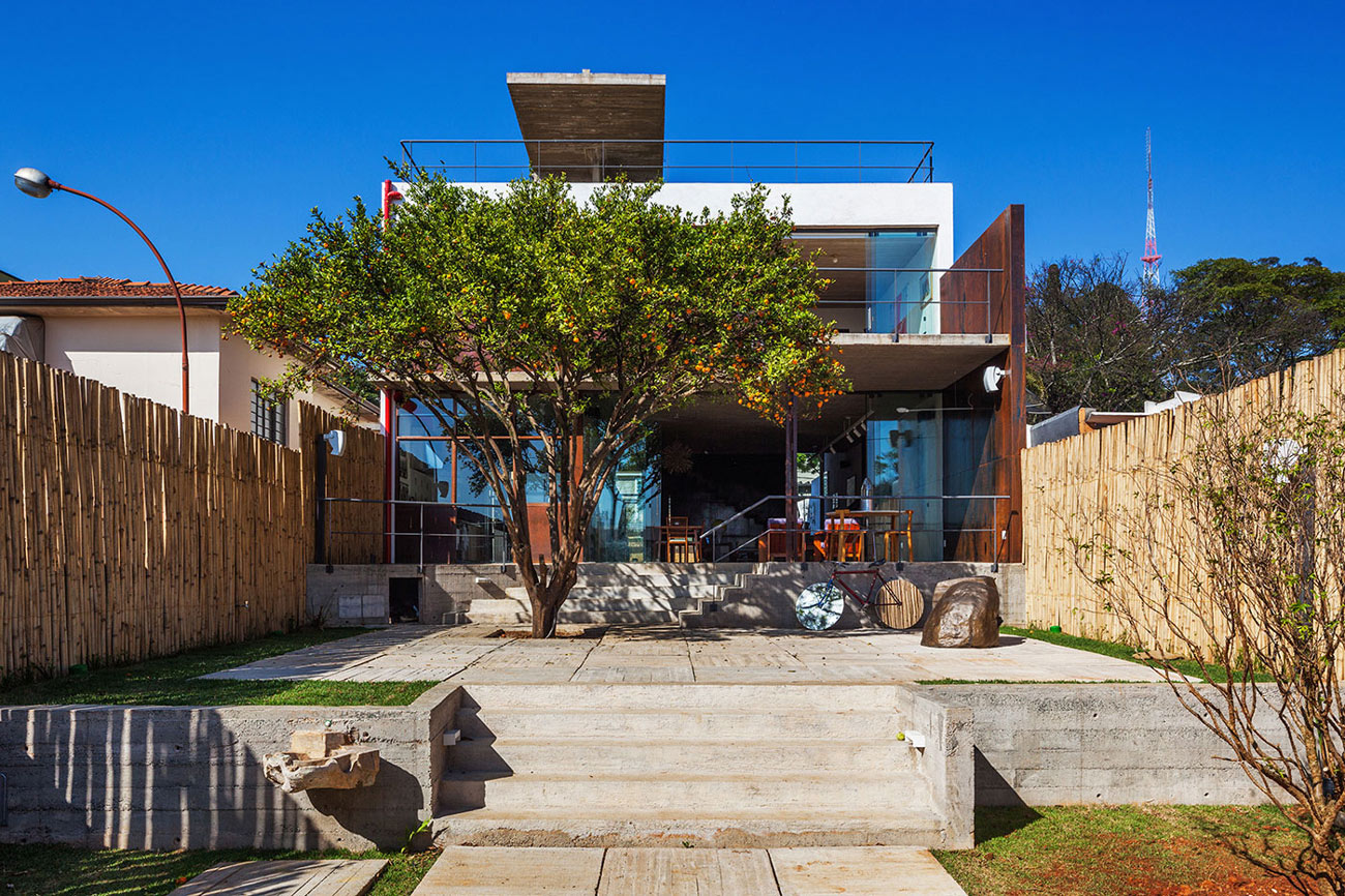 Wooden Fence, Concrete Terrace, Garden, Urban House in São Paulo, Brazil