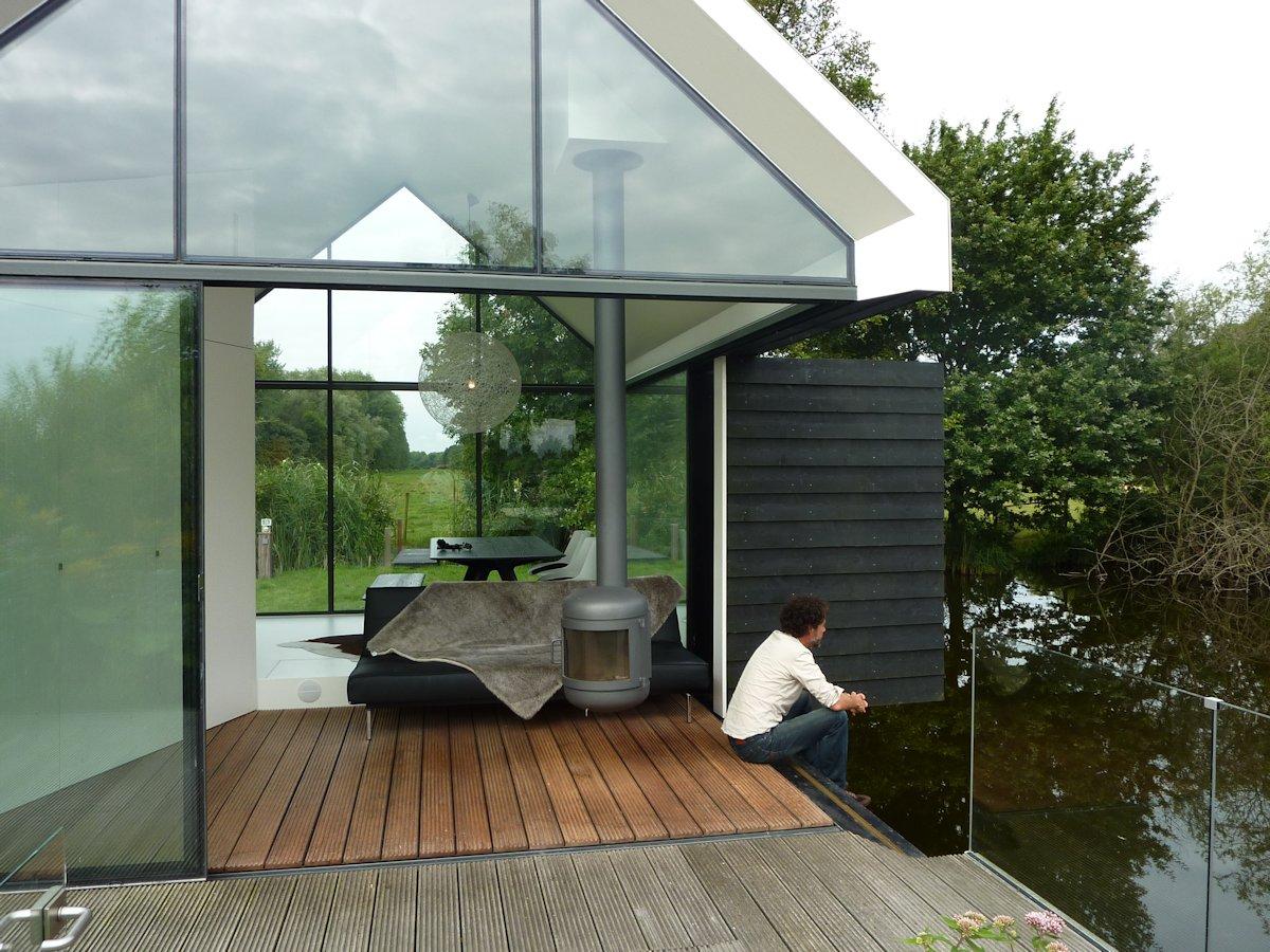 Wood Flooring, Fireplace, Glass Balustrading, Holiday House in Loosdrechtse