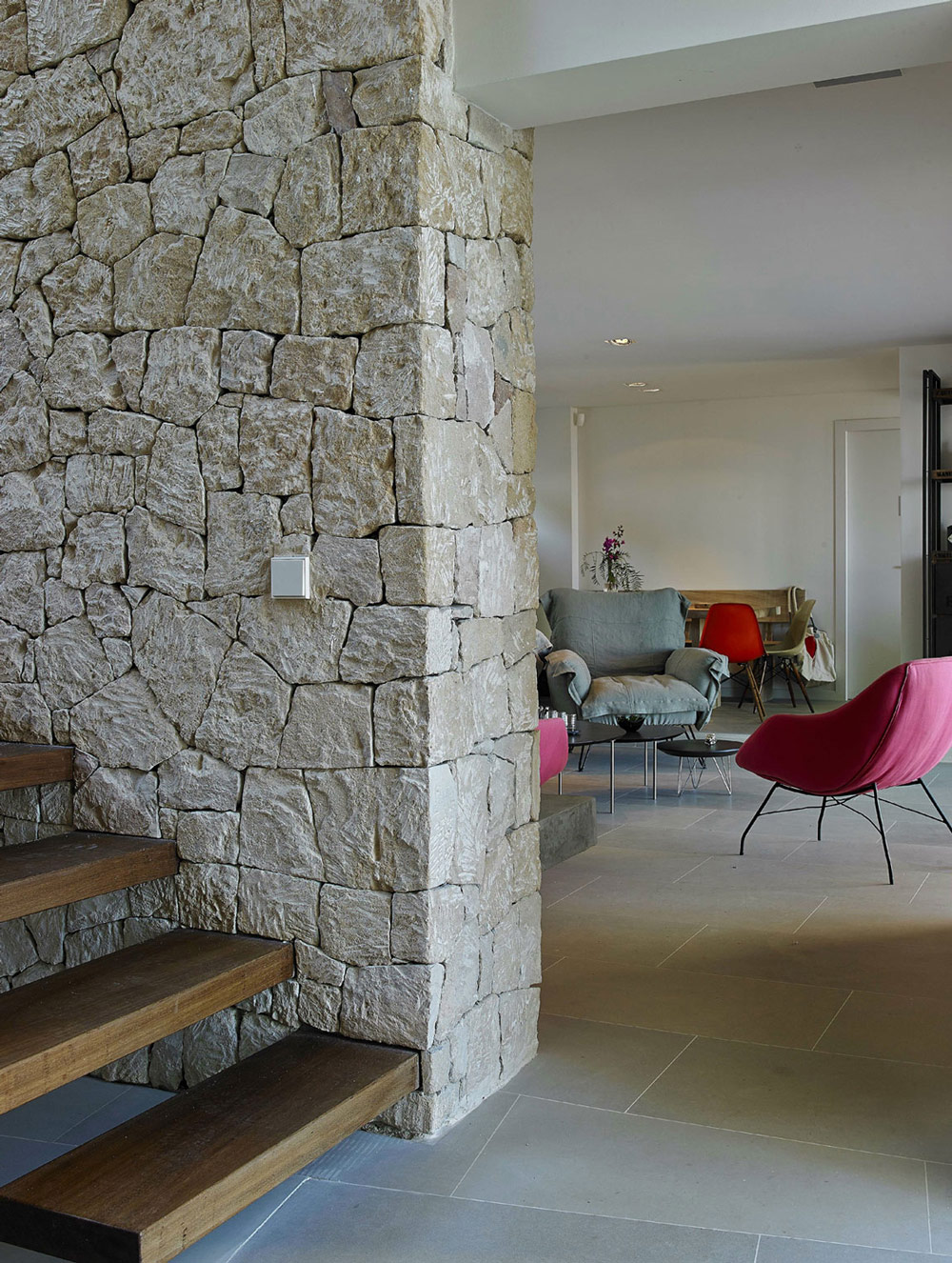 Wood Stairs, Natural Stone Wall, Modern House in Ibiza, Spain