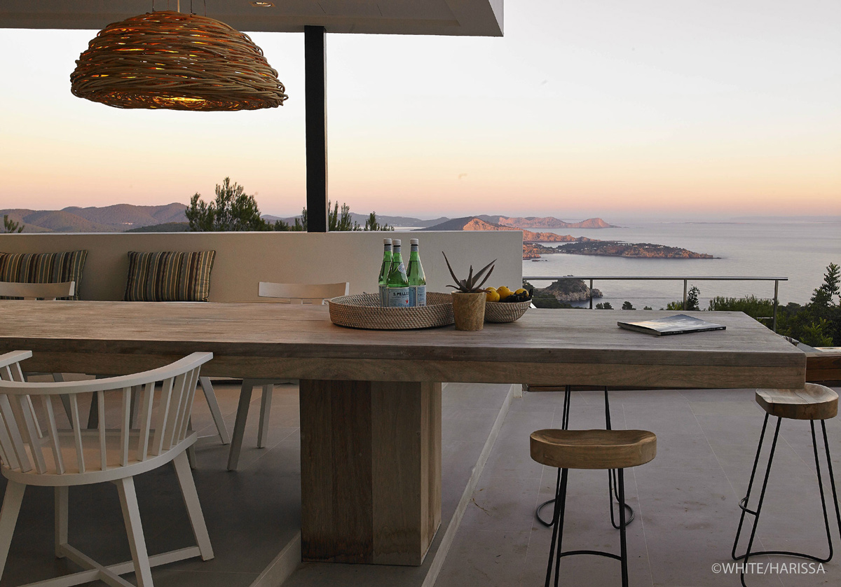 Wooden Outdoor Dining Table, Sea Views, Terrace, Modern House in Ibiza, Spain