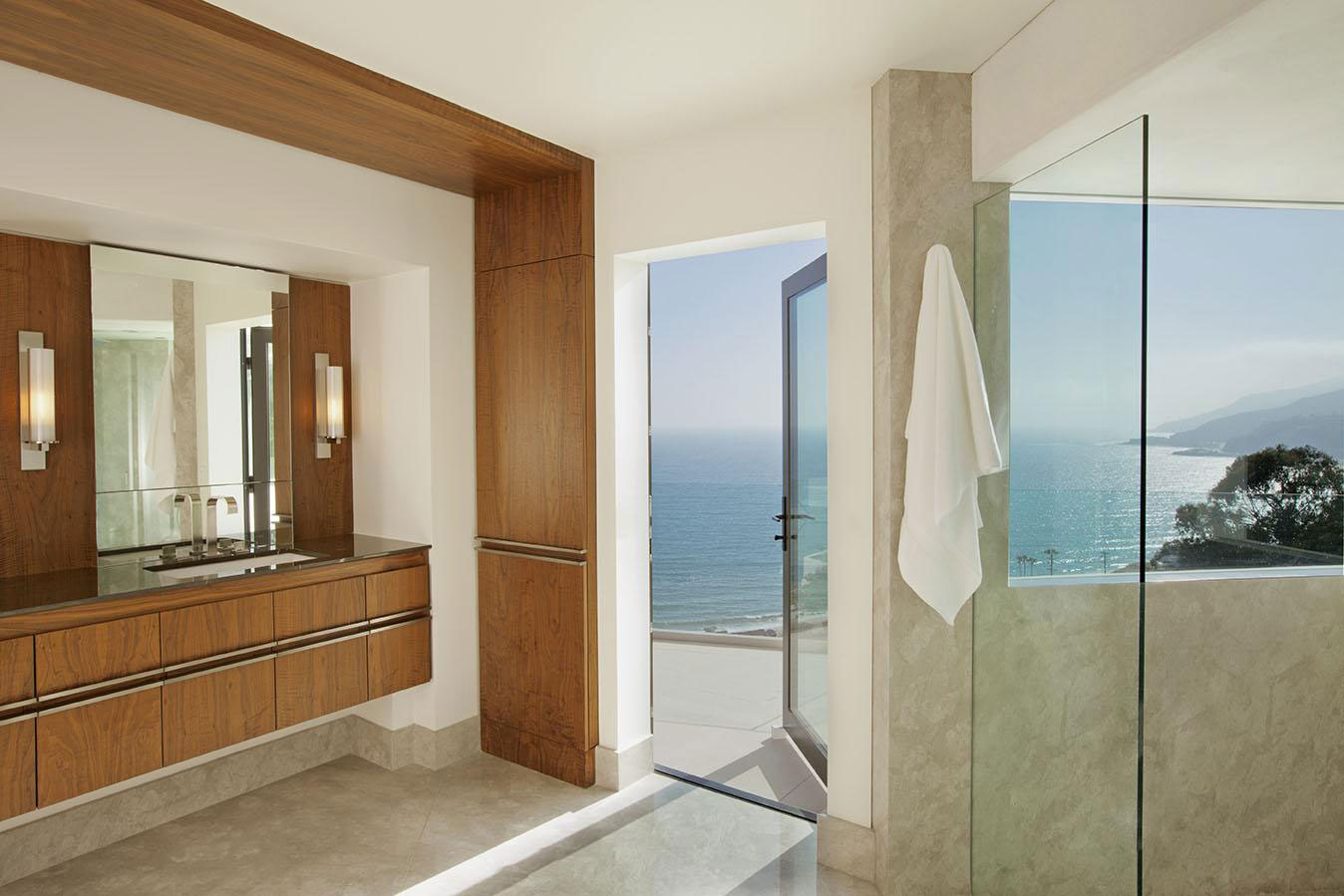 Bathroom, Glass Door, House in Pacific Palisades, Los Angeles