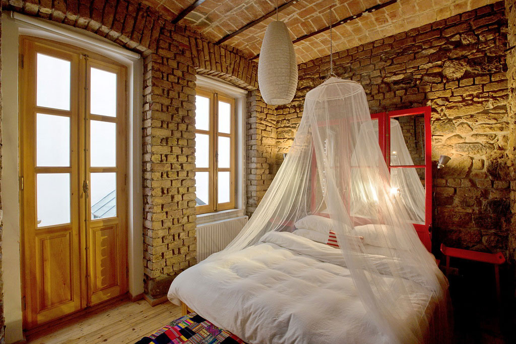 Bedroom, Brick Walls, Patio Doors, Duplex in Galata, Istanbul