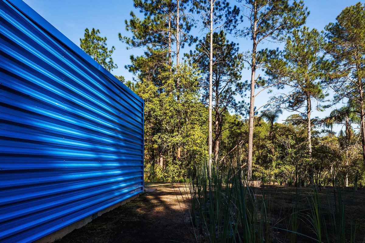 Blue Metal Facade, Small Summer House in São Roque, Brazil