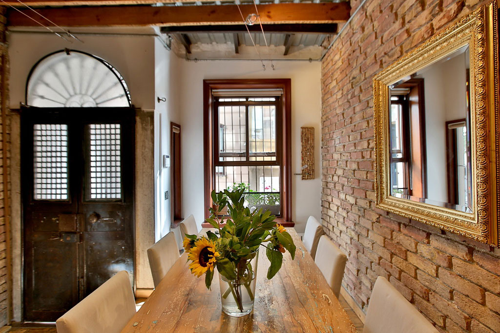 Brick Wall, Dining Table, Mirror, Duplex in Galata, Istanbul