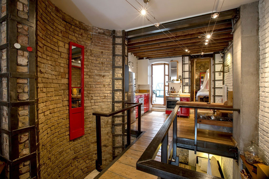 Brick Walls, Wooden Flooring, Duplex in Galata, Istanbul