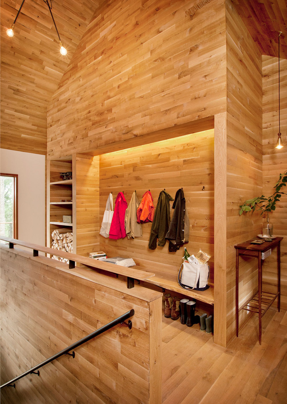 Coat Rack, Lighting, Wood and Glass House in Kerhonkson