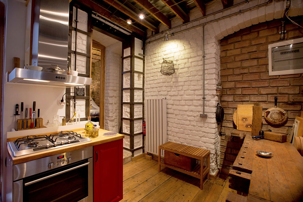 Compact Kitchen, Dining Space, Duplex in Galata, Istanbul