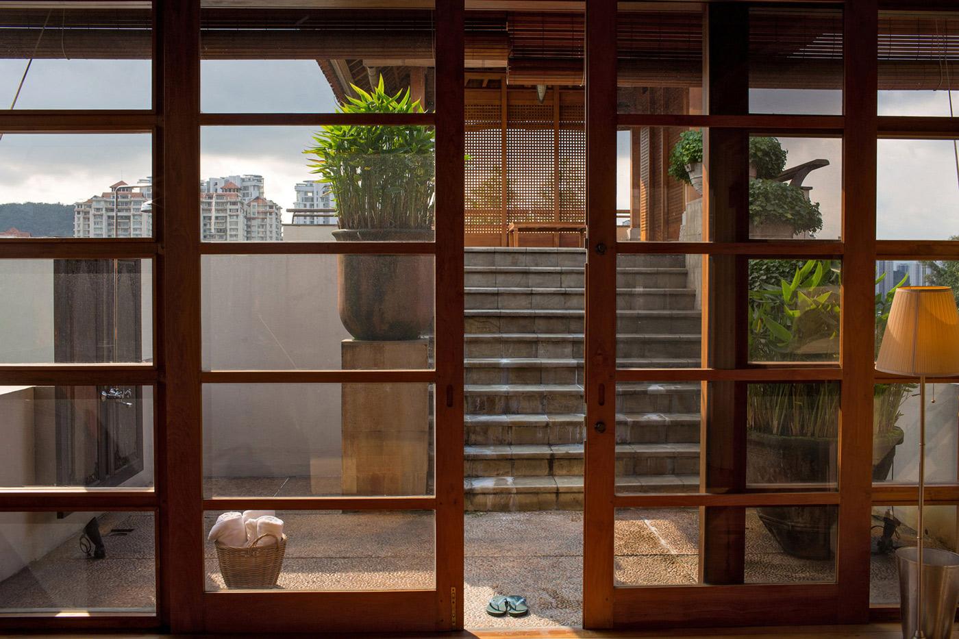Courtyard, Glass Sliding Doors, Home in Kuala Lumpur, Malaysia