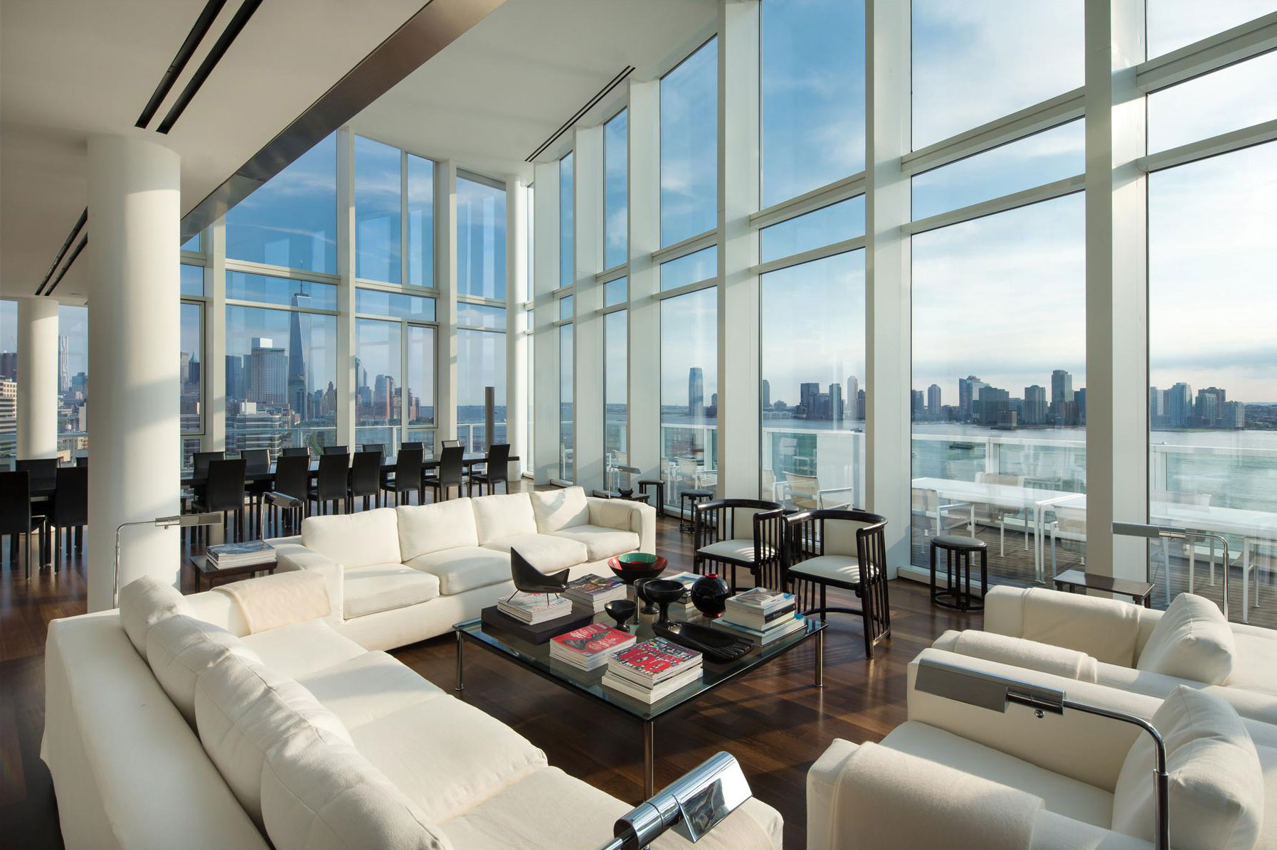Dark Wood Flooring, Sofas, Floor-to-Ceiling Windows, City & River Views, Apartment in Manhattan