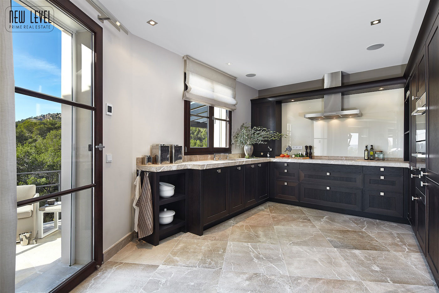 Dark Wood Kitchen, Contrasting Marble Floor Tiles, Fabulous Villa in Puerto de Andratx, Mallorca