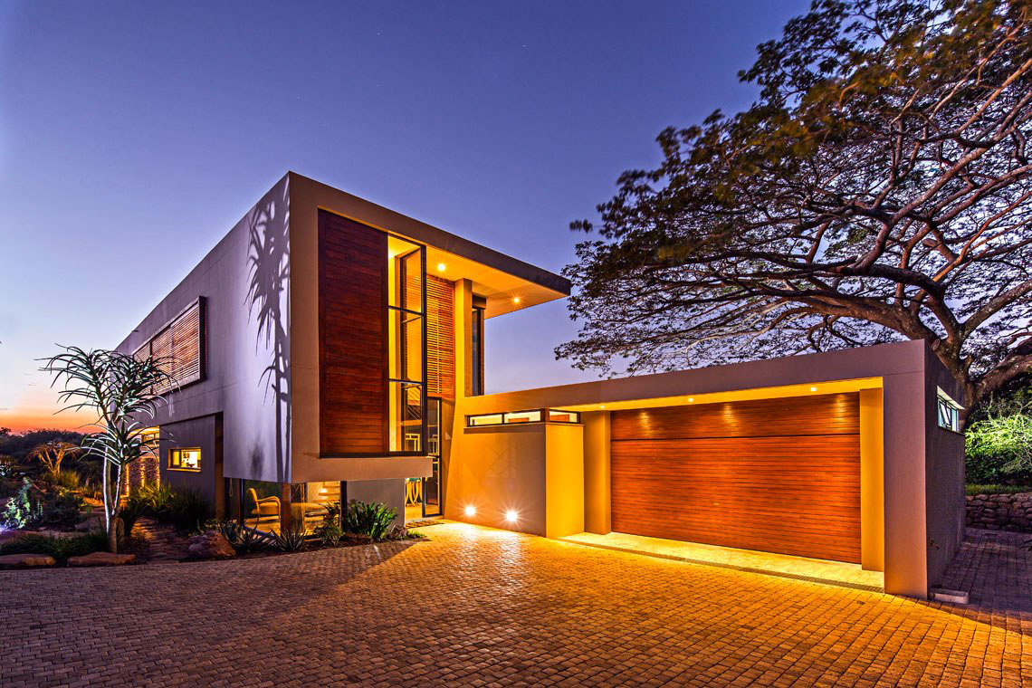 Driveway, Garage, Glass Front Door, Contemporary Residence in Kwa Zulu Natal