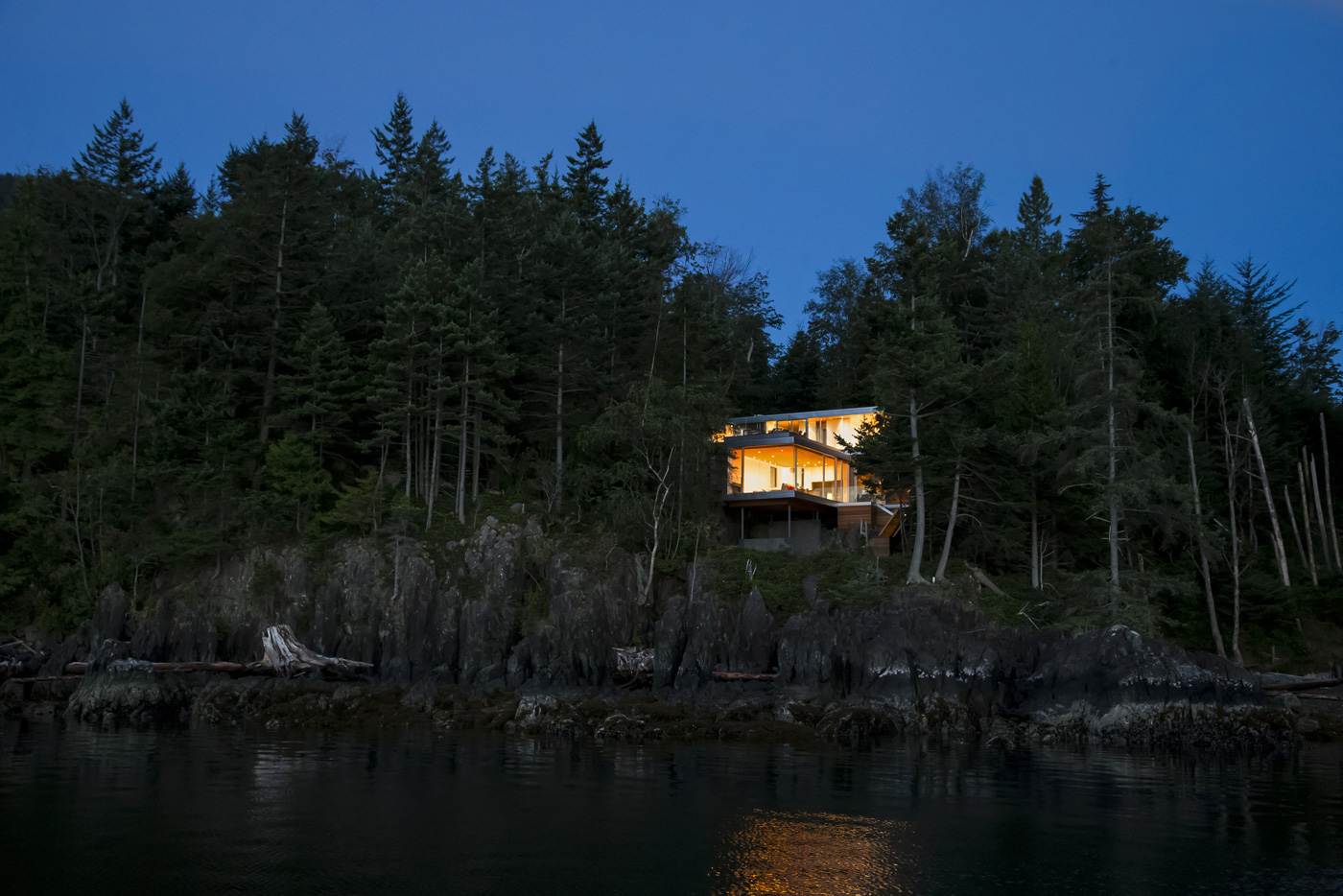 Evening, Lighting, House on Gambier Island, British Columbia
