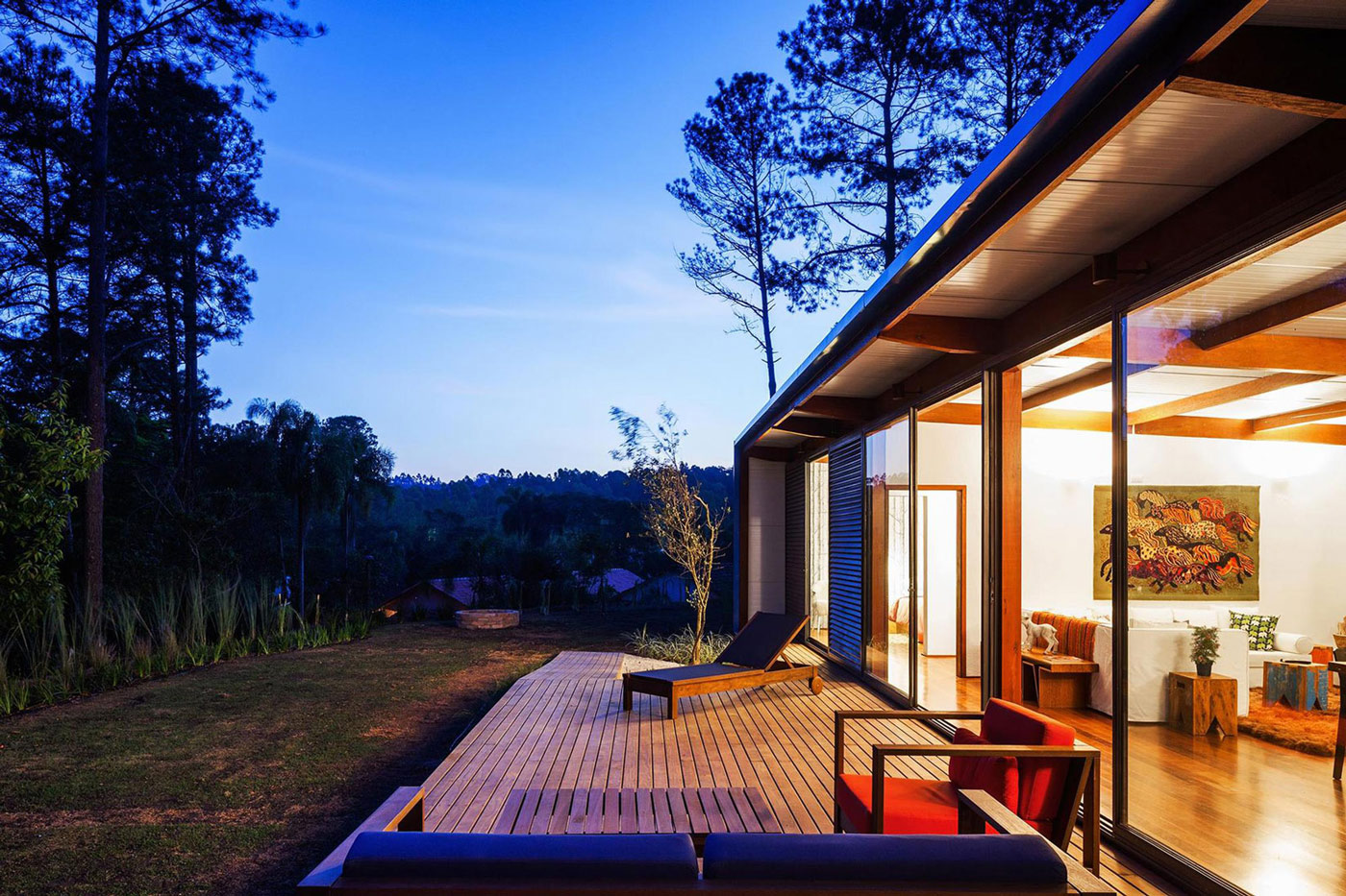 Evening, Lighting, Deck, Glass Walls, Small Summer House in São Roque, Brazil