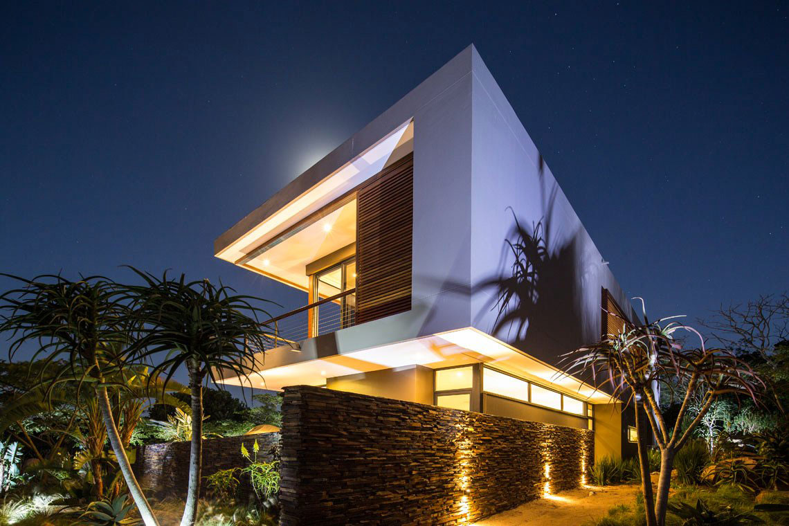 Evening, Lighting, Natural Stone Wall, Contemporary Residence in Kwa Zulu Natal