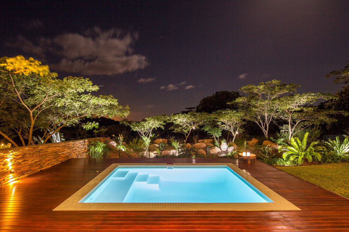 Evening, Pool & Garden Lighting, Contemporary Residence in Kwa Zulu Natal