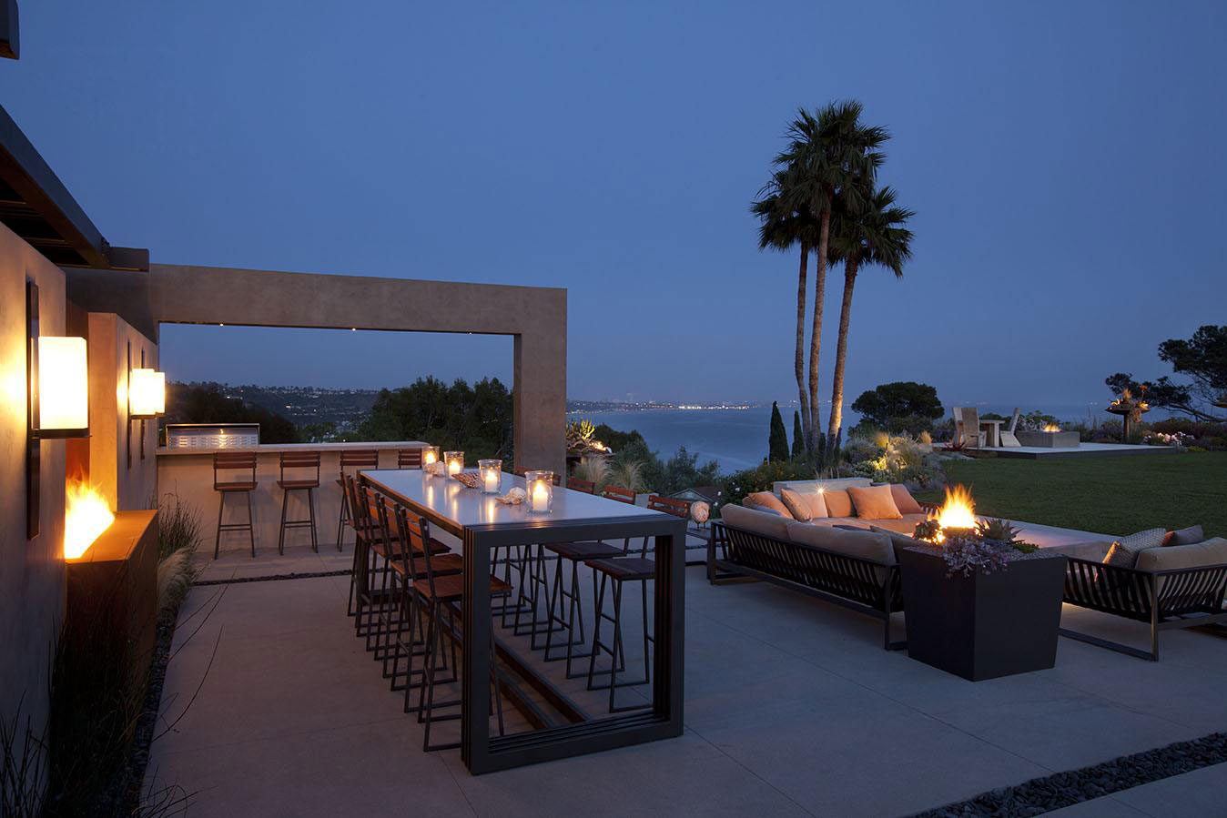 Evening, Lighting, Terrace, House in Pacific Palisades, Los Angeles