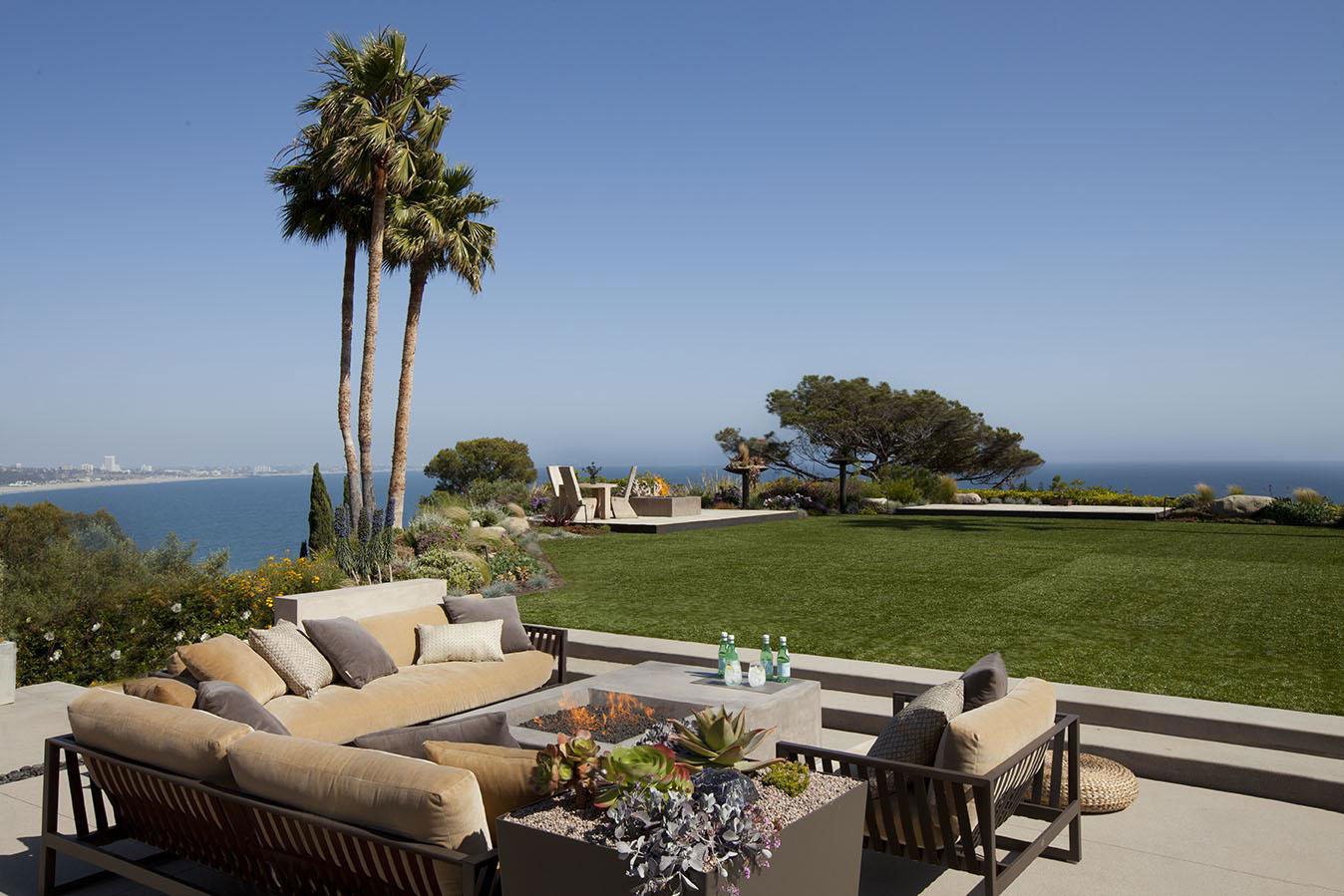 Firepit, Terrace, Lawn, Ocean Views, House in Pacific Palisades, Los Angeles