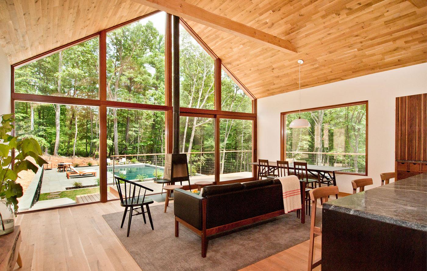 Fireplace, Vaulted Ceiling, Open Plan Living Space, Wood and Glass House in Kerhonkson