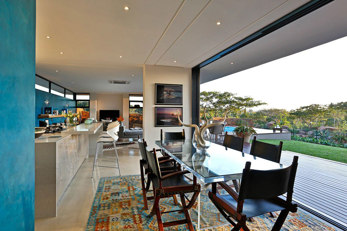 Glass Dining Table, Rug, Glass Sliding Doors, Contemporary Residence in Kwa Zulu Natal
