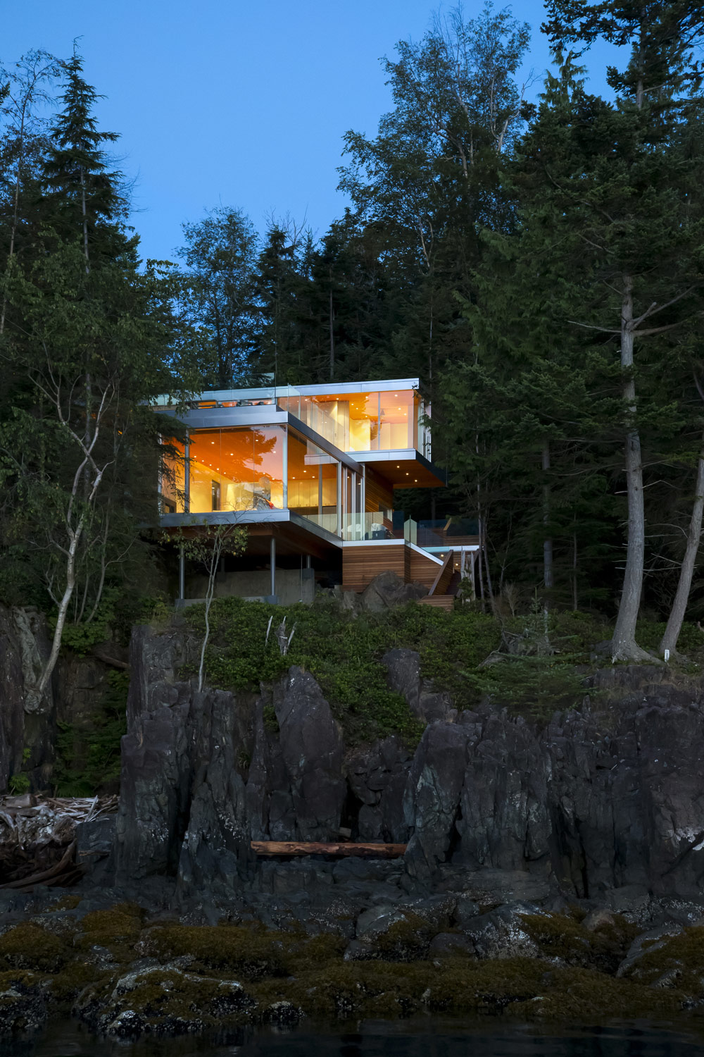 Glass Walls, Lighting, House on Gambier Island, British Columbia