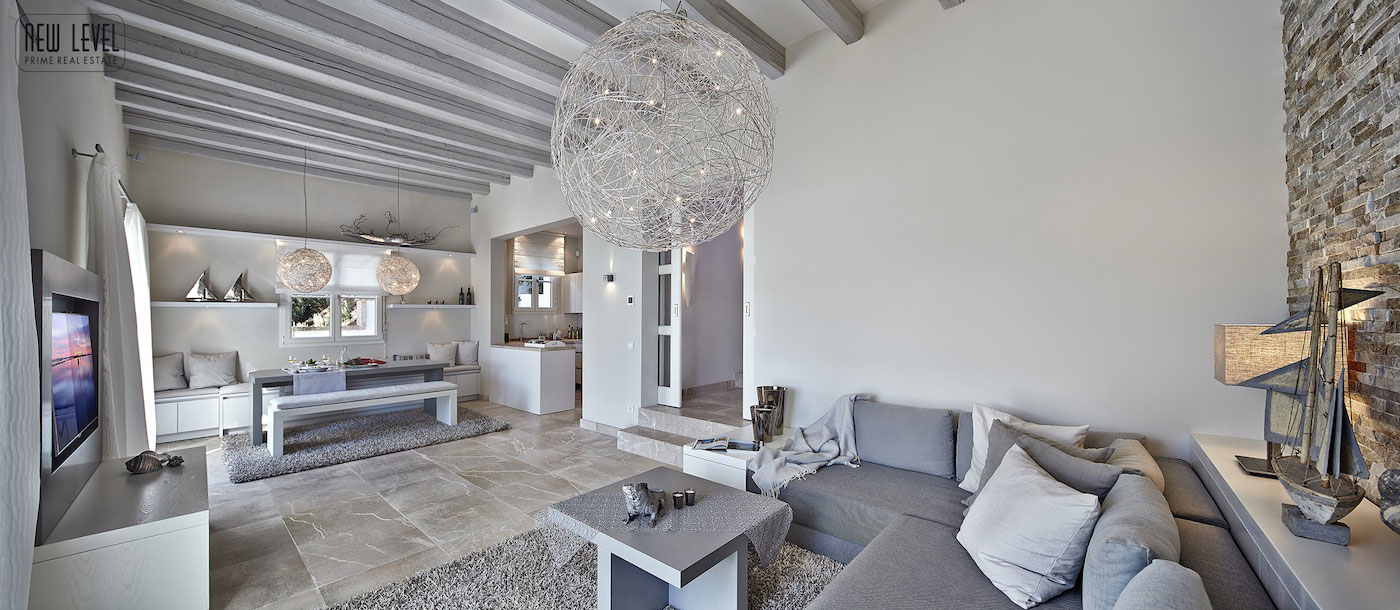 Grey Sofa, Lighting, Living Space, Fabulous Villa in Puerto de Andratx, Mallorca