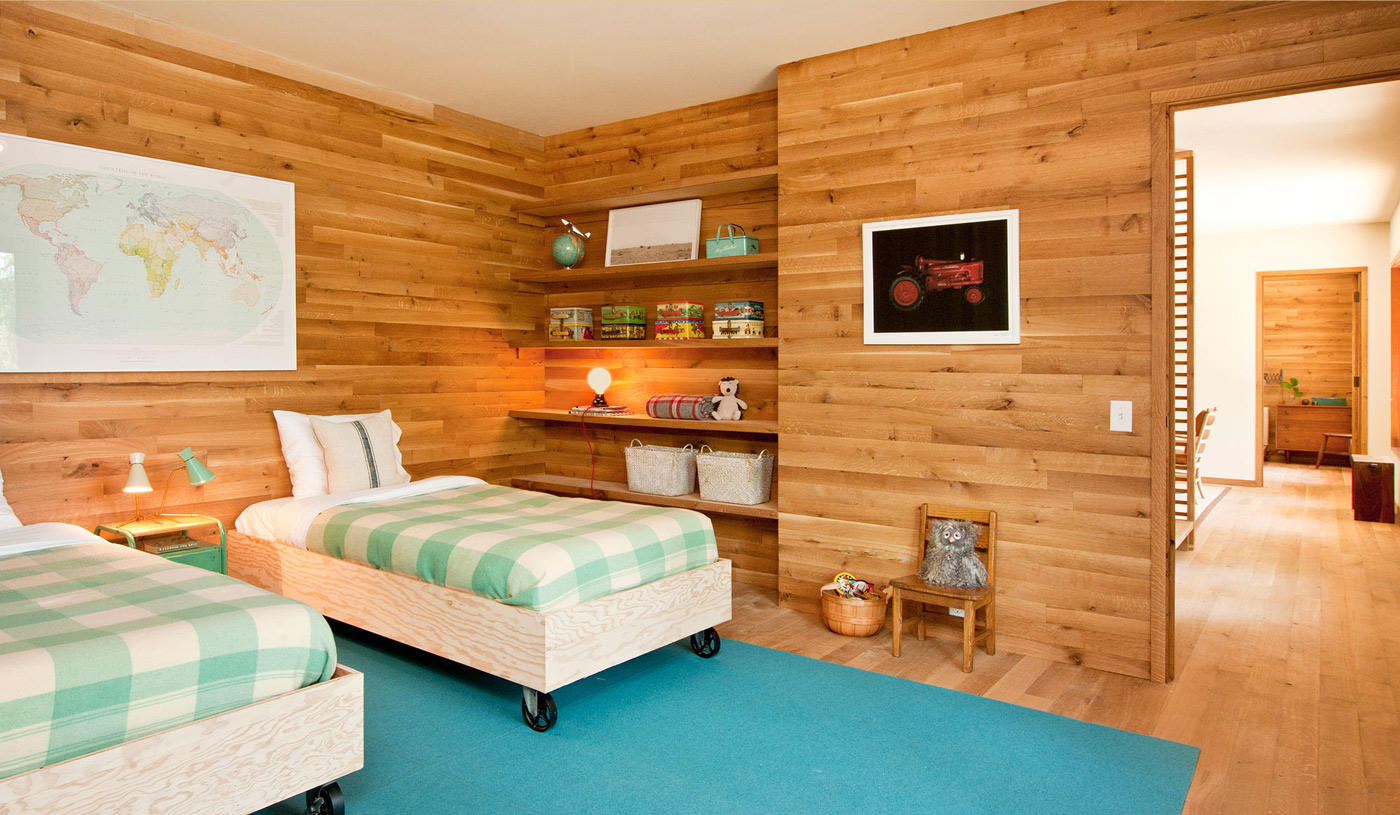 Kids Room, Blue Rug, Wood and Glass House in Kerhonkson