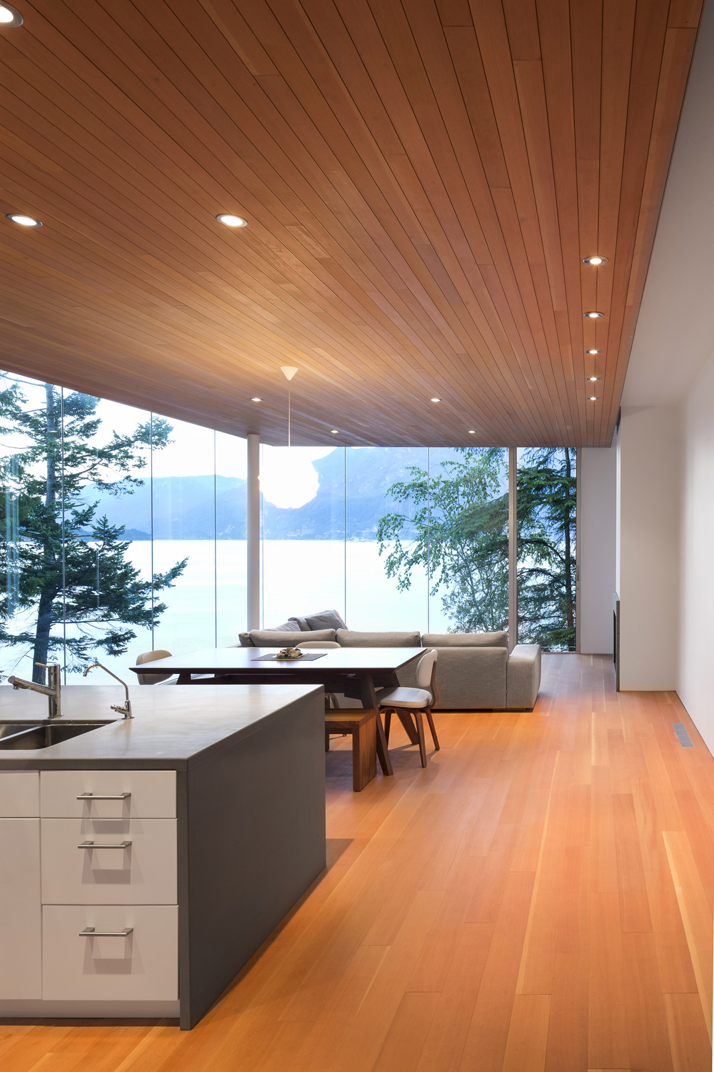 Kitchen, Dining & Living Space, Glass Walls, House on Gambier Island, British Columbia