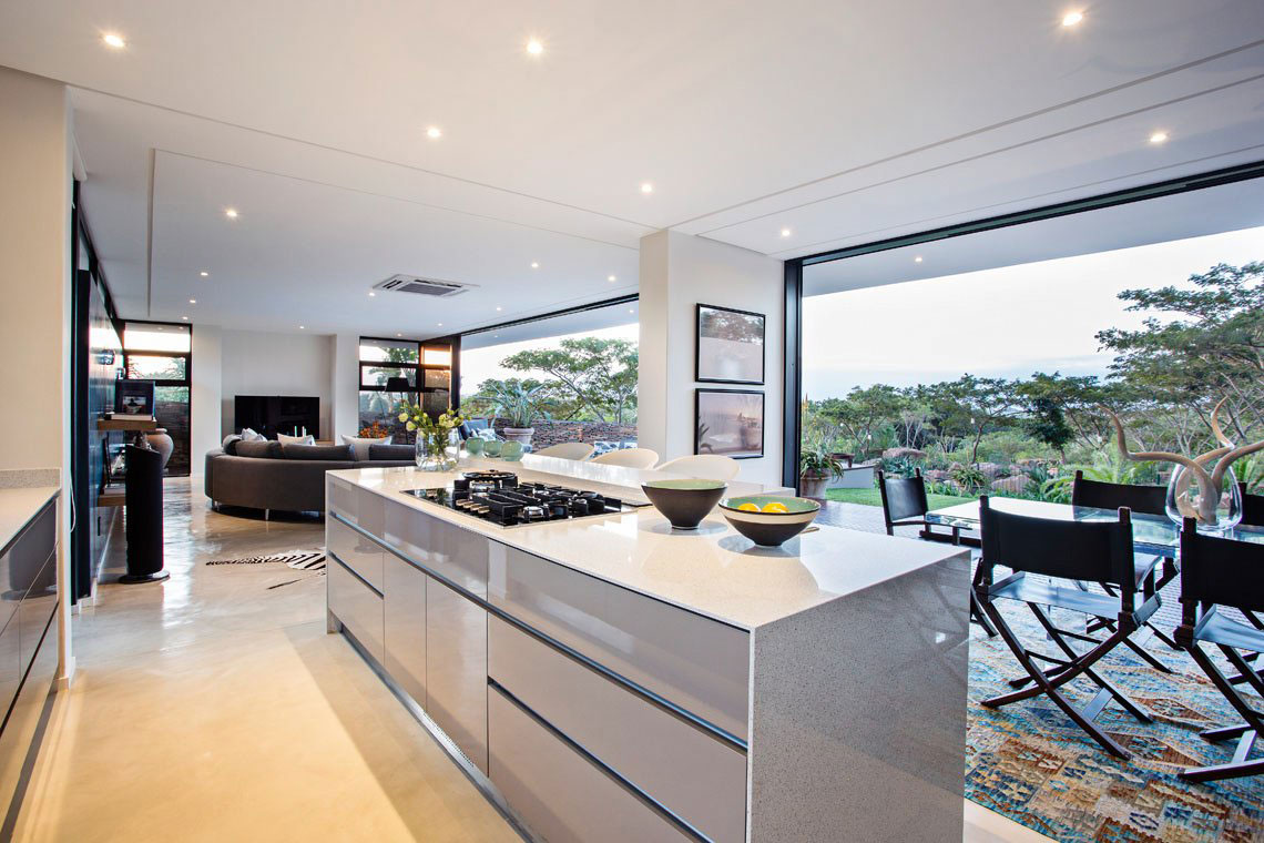 Kitchen Island, Dining Space, Contemporary Residence in Kwa Zulu Natal
