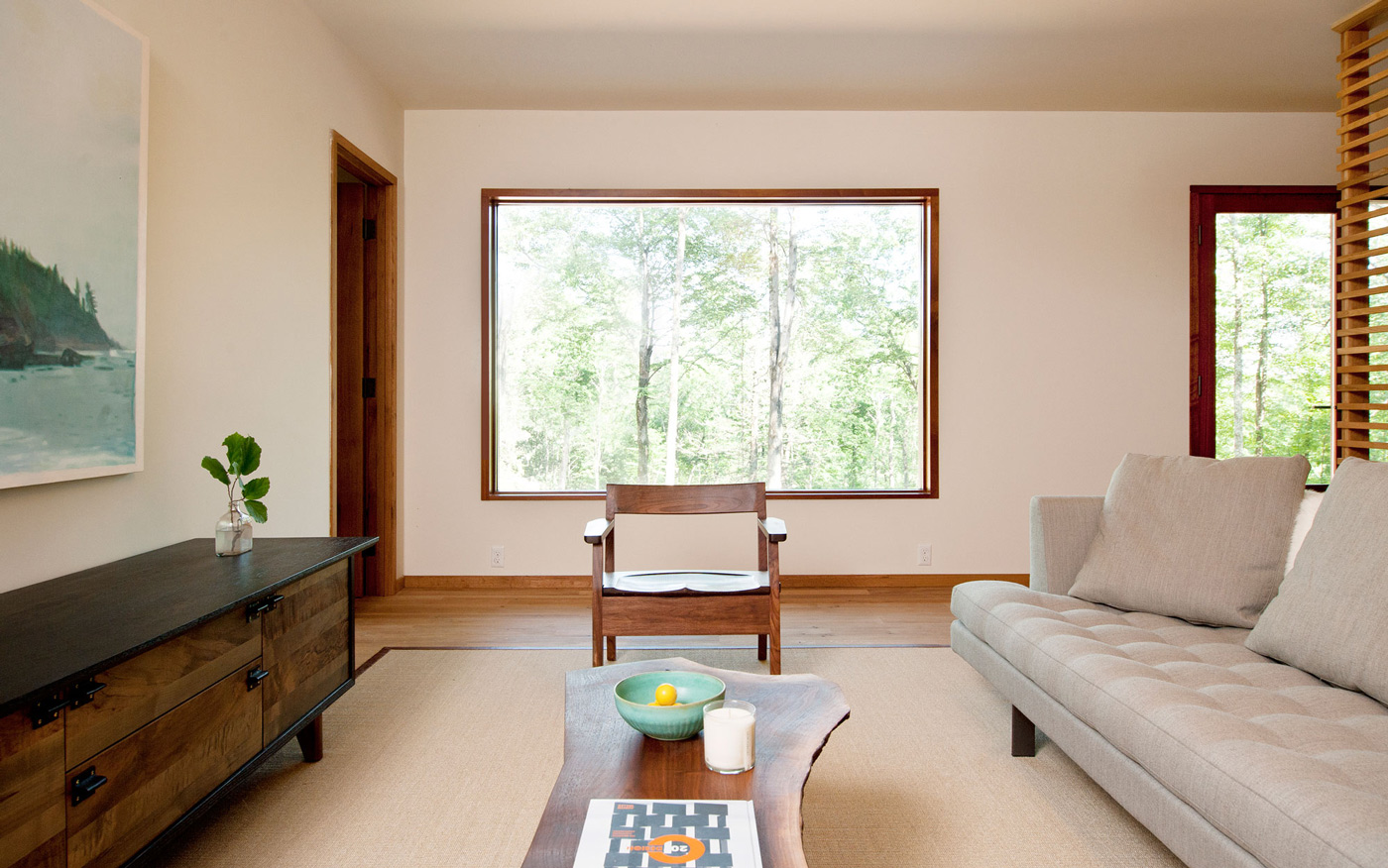 Large Window, Table, Chair, Sofa, Living Space, Wood and Glass House in Kerhonkson