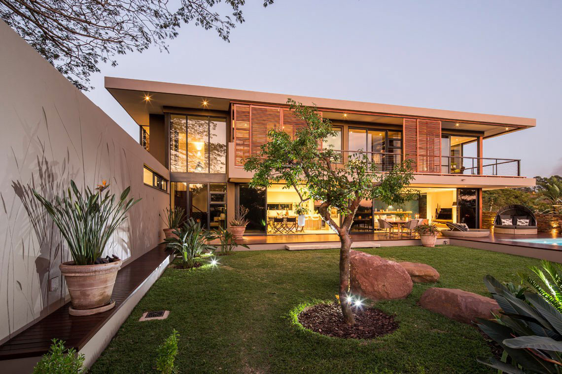Lawn, Terrace, Contemporary Residence in Kwa Zulu Natal