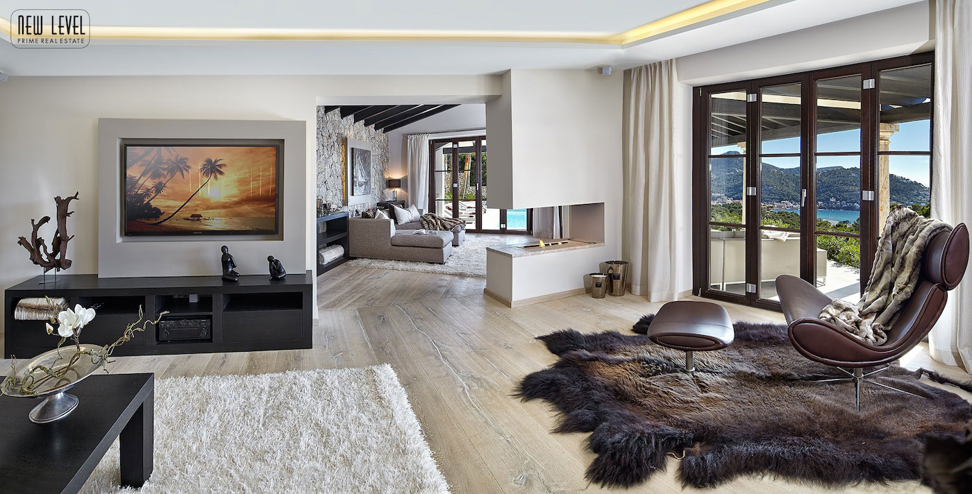 Light & Dark Rugs, Contemporary Fireplace, Living Room, Fabulous Villa in Puerto de Andratx, Mallorca