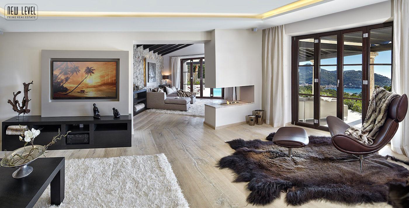 Light & Dark Rugs, Contemporary Fireplace, Living Room, Fabulous Villa in Puerto de Andratx, Mallorca