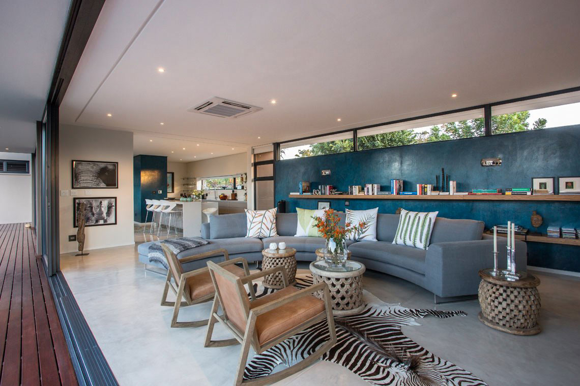 Living Room, Sofa, Glass Sliding Doors, Contemporary Residence in Kwa Zulu Natal