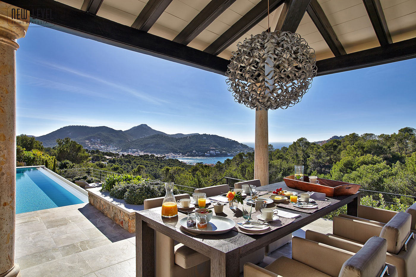 Outdoor Dining, Sea Views, Lighting, Fabulous Villa in Puerto de Andratx, Mallorca