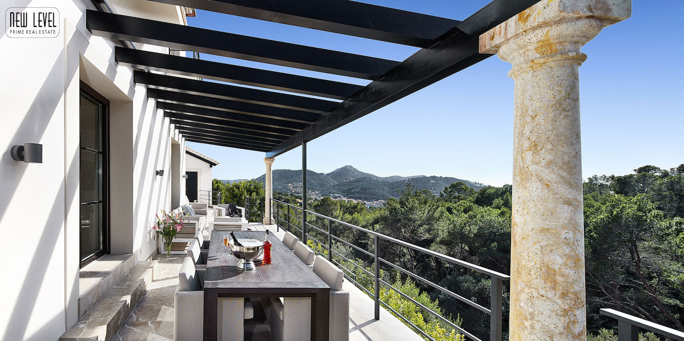 Outdoor Dining Table, Marble Tiles, Fabulous Villa in Puerto de Andratx, Mallorca