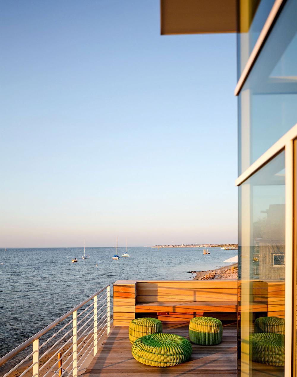 Outdoor Furniture, Balcony, Sea Views, Richard Meier's Fire Island House