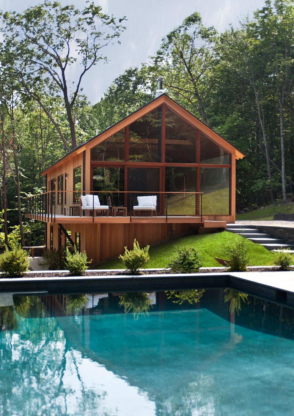 Outdoor Pool, Balcony, Wood and Glass House in Kerhonkson