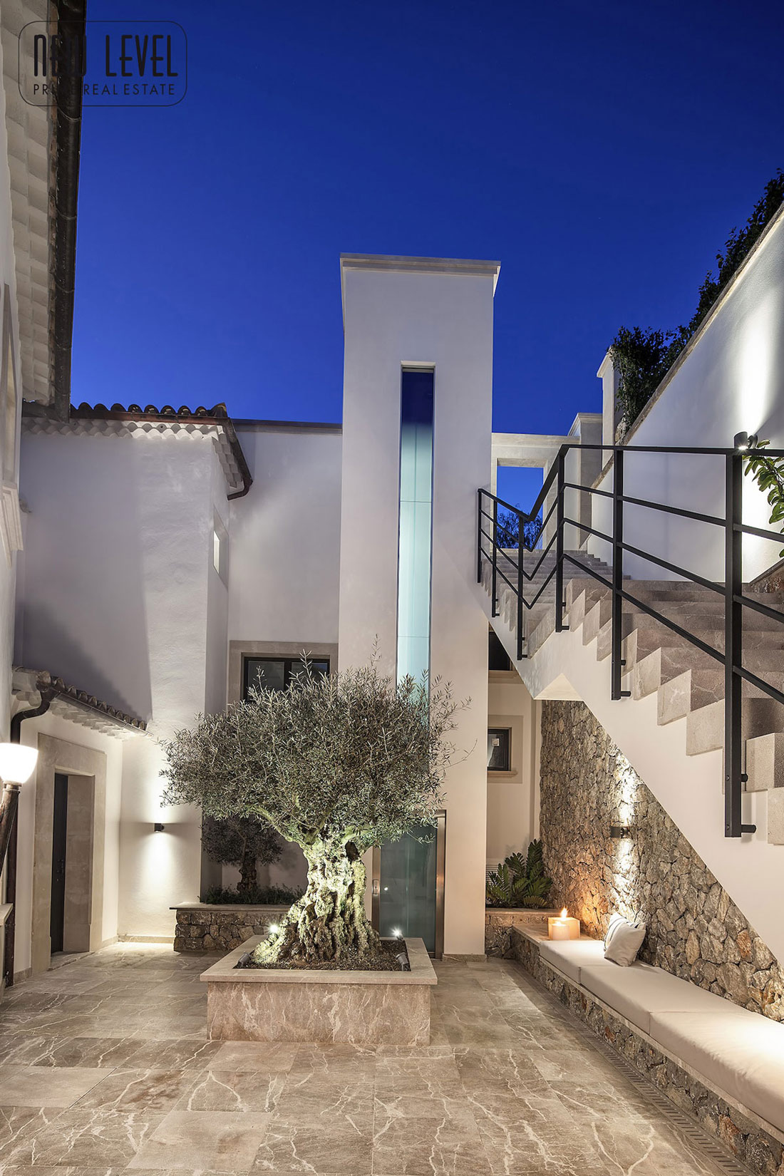Outdoor Stairs, Marble Tiles, Lighting, Fabulous Villa in Puerto de Andratx, Mallorca