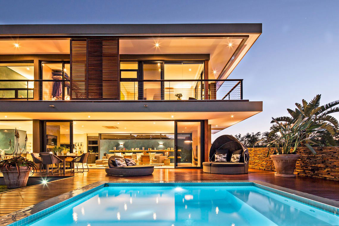 Pool, Lighting, Terrace, Balcony, Contemporary Residence in Kwa Zulu Natal