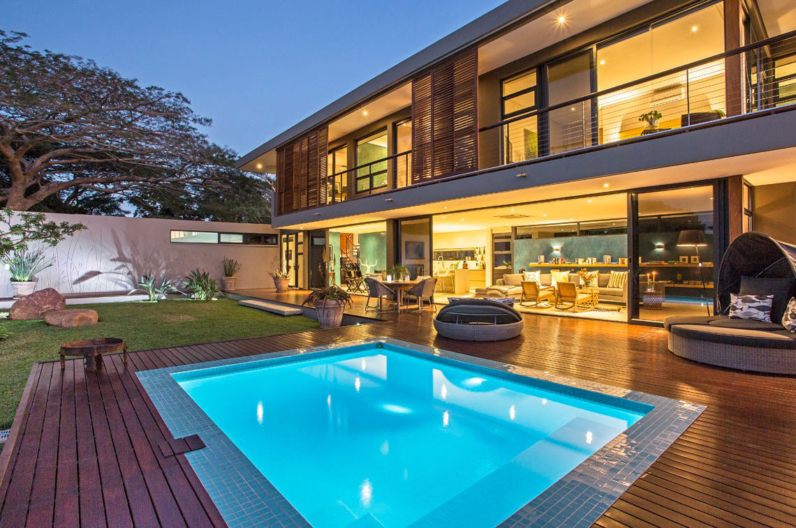 Pool Lighting, Wooden Deck, Contemporary Residence in Kwa Zulu Natal