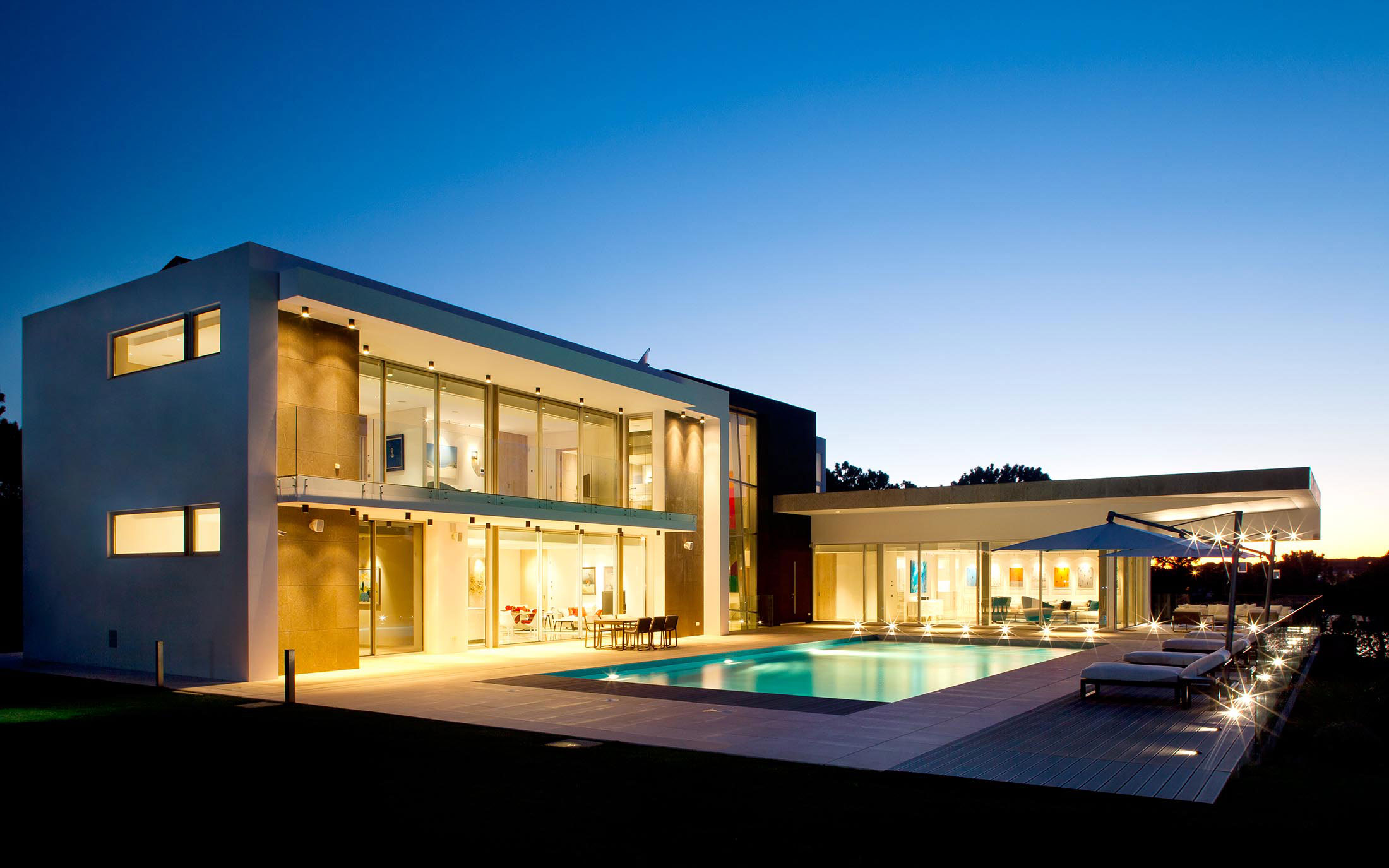 Evening, Pool, Lighting, Family Home in Portugal