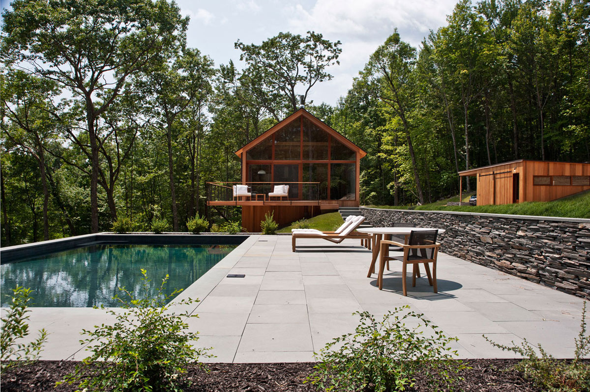 Pool, Terrace, Natural Stone Wall, Wood and Glass House in Kerhonkson