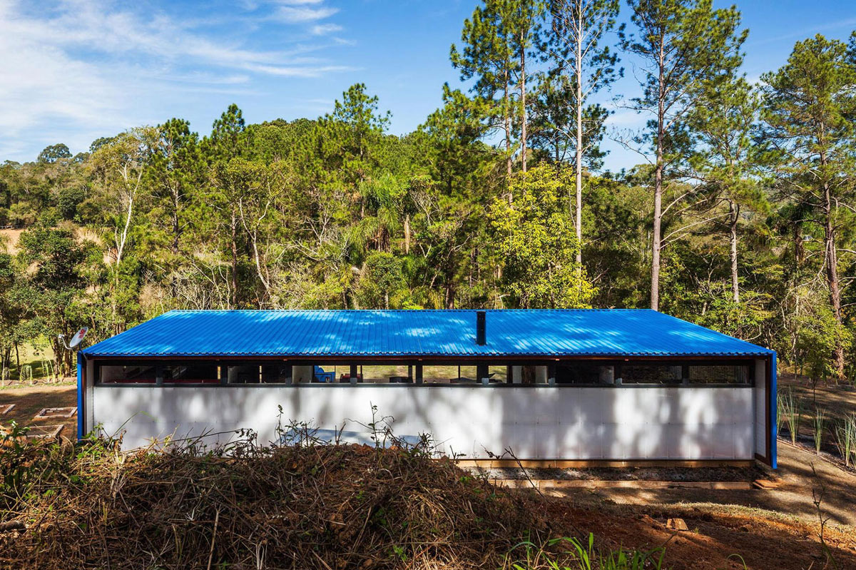 Rear Façade, Blue Metal Roof, Small Summer House in São Roque, Brazil