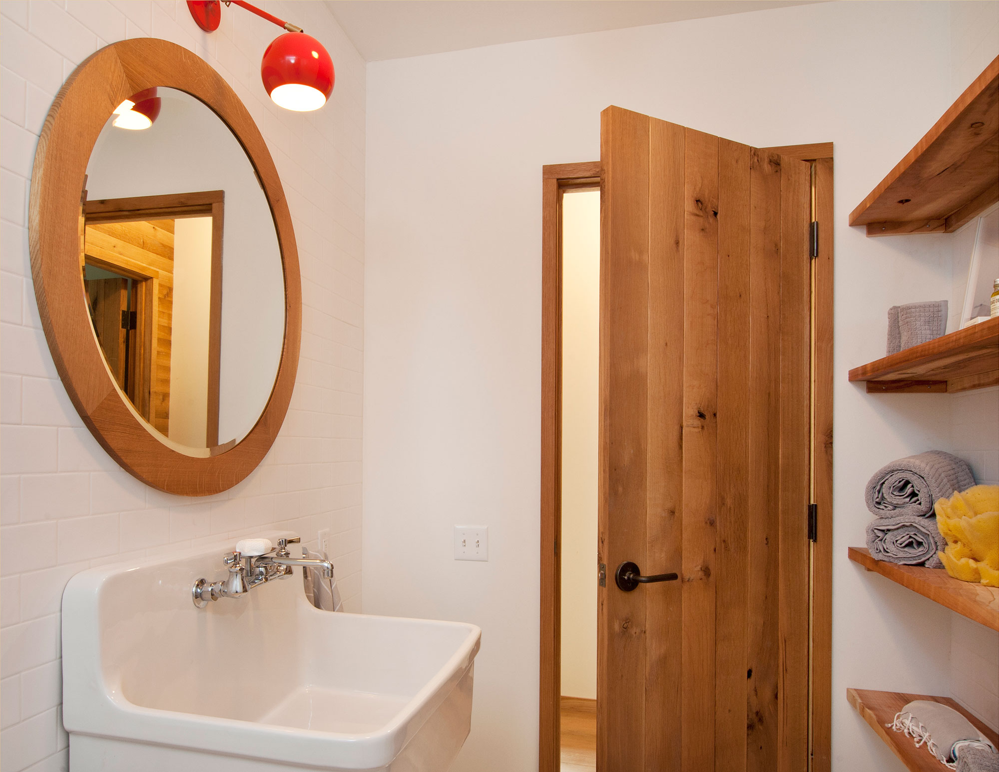 Sink, Mirror, Wood and Glass House in Kerhonkson