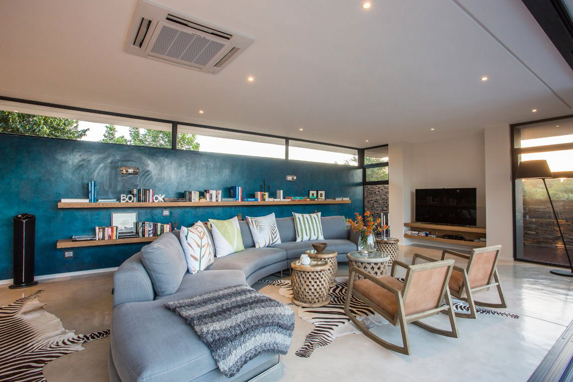 Sofa, Blue Wall, Living Space, Contemporary Residence in Kwa Zulu Natal