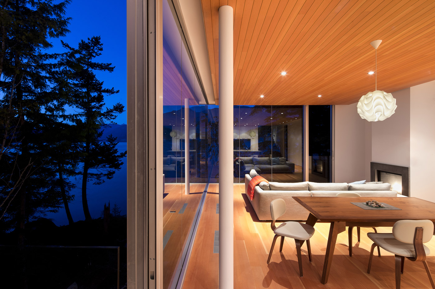 Sofa, Lighting, Glass Sliding Doors, House on Gambier Island, British Columbia